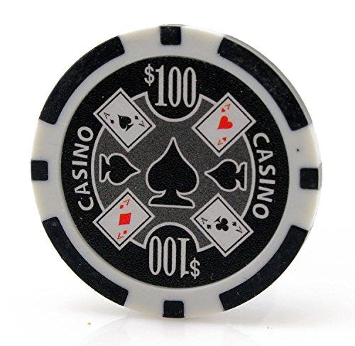 Versa Games Casino Ace 11.5g Poker Chips - 25 Piece - Black ($100)