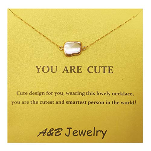 A&B Baroque Pearl Mabe Pearl Shaped Pearl Pendant Necklace Clavicle Necklace with Gift Card Message Card for Lady and Girl (Color 1)