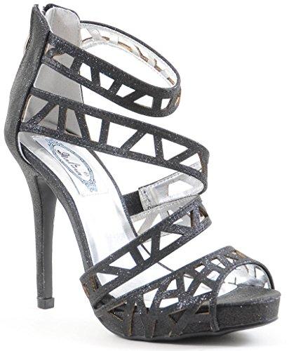 Open Cut Heels out Glitter Women's Toe Shoes Strappy Platform 0z5tdqxcwd