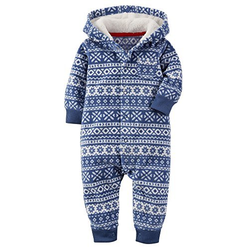 Carters Baby Boys Fair Isle Hooded Fleece Jumpsuit Blue 6M (Enterprise Jumpsuit)