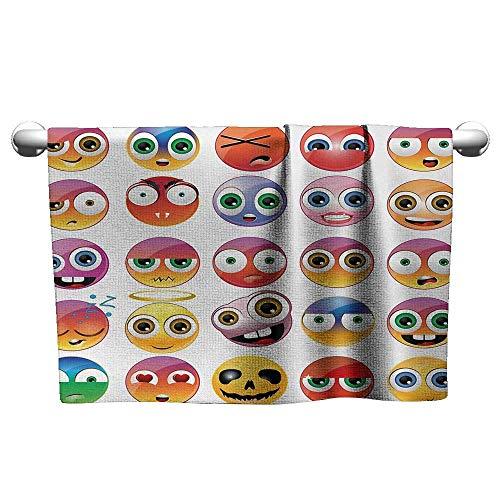 alisoso Emoji,Kids Swimming Towels Rainbow Colored Cartoon Like Smiley Face Expressions Sad Happy Angry Fierce Art Print Microfiber Sports Multicolor W 10