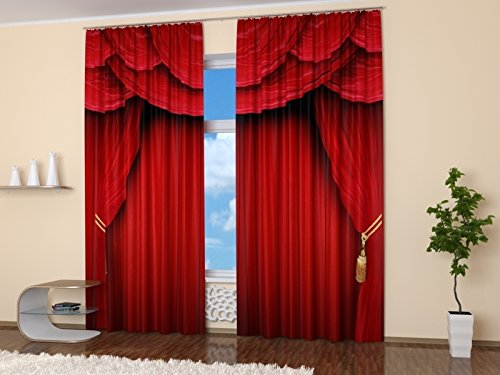 Amazon Red Curtains Collection By Factory4me Theater Scene Window Curtain Set Of 2 Panels Each W42 X L84 Inches Total W84