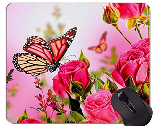 Mouse Pad Non-Skid Natural Rubber Rectangle Mouse Pads,Pink Rose Rose Art Butterfly -Stitched Edges