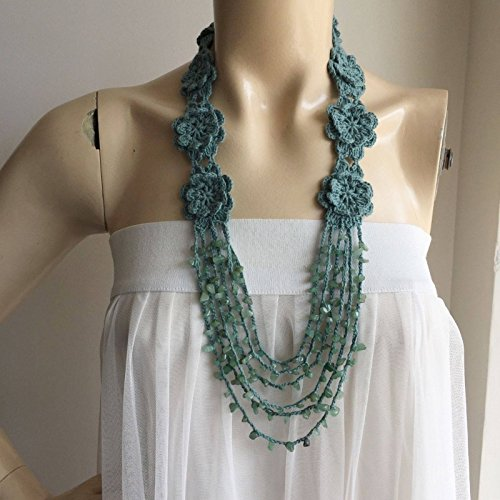 Seafoam Strand Necklace-Seafoam Crochet Flower Necklace-Jade Stone Necklace