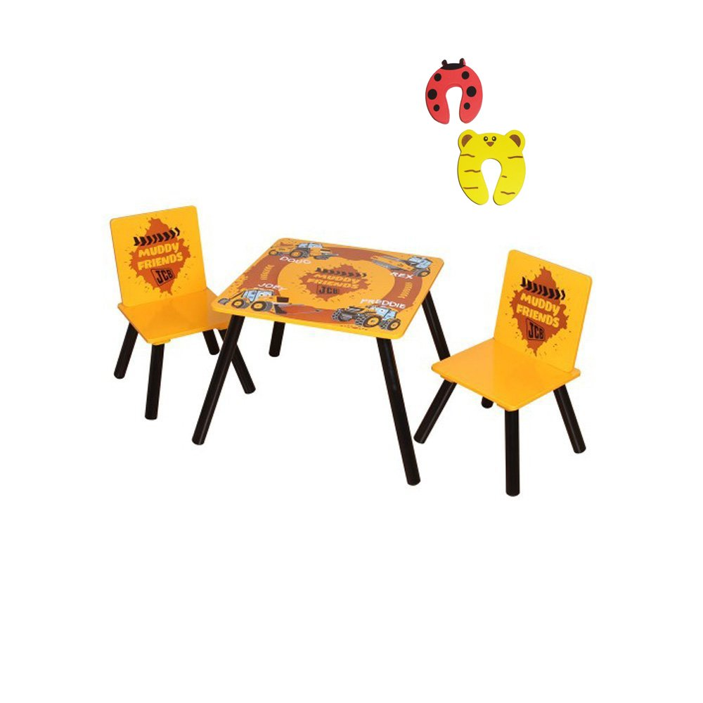 Childrens JCB Tractor Design Wooden Table & Chair Set and 2 Safety Doorstoppers Package