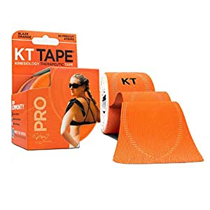 KT TAPE PRO Synthetic Elastic Kinesiology 20 Pre-Cut 10-Inch Strips Therapeutic Tape, Blaze Orange