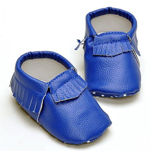 Estamico bebé niñas niños borla mocasín zapatos negro negro Talla:12-18 meses azul marino