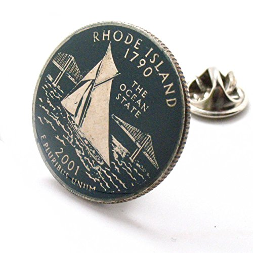 (Rhode Island Tie Tack Lapel Pin Suit Flag State Coin Jewelry USA United States America Boat Sailing Ship Providence)