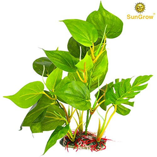 SunGrow Plastic Leaf Plant for Freshwater or Saltwater Aquariums : Ultra Realistic Medium-sized (10 inches) - Excellent Hiding spot for Fish, Reptiles and Amphibians : Safe for Aquariums use (Lightweight Planters Trough)