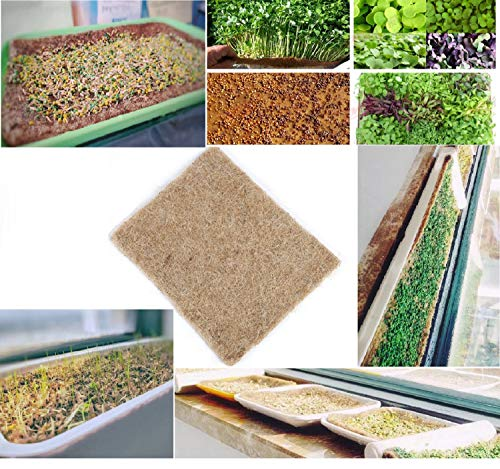 "12 Hydroponic Grow Pads - Hemp Grow Mat - Perfect for Microgreens, Wheatgrass, Sprouts - (Fits Standard 10"" X 20"" Germination Tray) - Environmentally Friendly, Fully Biodegradable (12)"