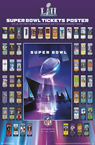 Super Bowl Ticket Poster - Trends International Super Bowl LII-Tickets Mount Bundle Wall Poster, 22.375