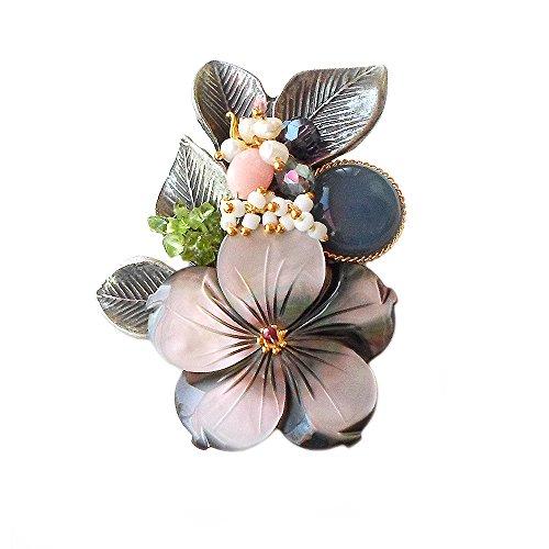 Hanabe Women Handmade Flower Mother of Pearl Beaded Antique Brooch Pin Pendant -