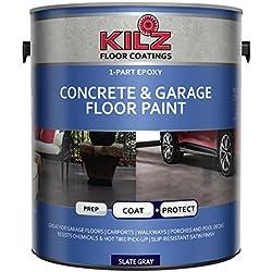 KILZ L377711 1-Part Epoxy Acrylic Interior/Exterior Concrete & Garage Floor Paint, Satin, Slate Gray, 1 gallon
