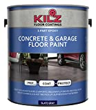 painting concrete floors KILZ L377711 1-Part Epoxy Acrylic Interior/Exterior Concrete and Garage Floor Paint, Satin, Slate Gray, 1-Gallon, 1 Gallon, 4 l