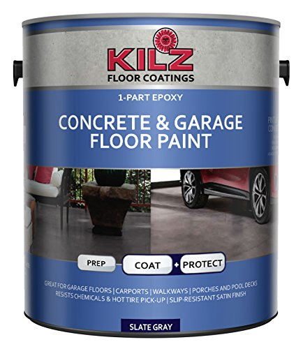 - KILZ L377711 1-Part Epoxy Acrylic Interior/Exterior Concrete and Garage Floor Paint, Satin, Slate Gray, 1-Gallon, 1 Gallon, 4 l