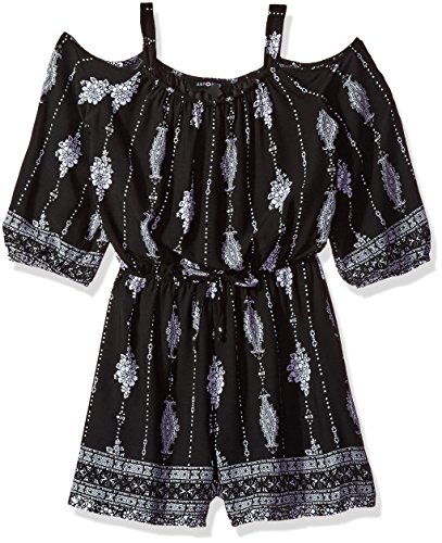 Price comparison product image Amy Byer Big Girls' Long Sleeve Off Shoulder Print Romper, Pat Z/Black, L
