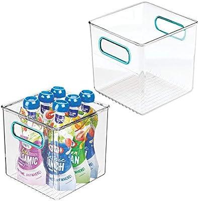 mDesign Juego de 2 cestas organizadoras para la cocina – Caja de plástico para el frigorífico – Organizador de nevera para guardar lácteos, frutas y otros alimentos – transparente/azul: Amazon.es: Hogar