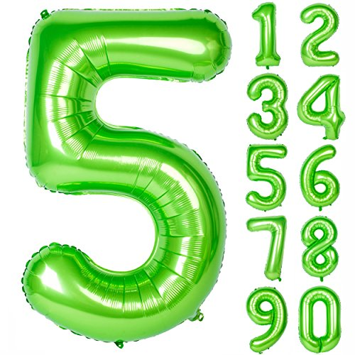 40 Inch Green Large Numbers 0-9 Birthday Party Decorations Helium Foil Mylar Big Number Balloon Digital 5]()