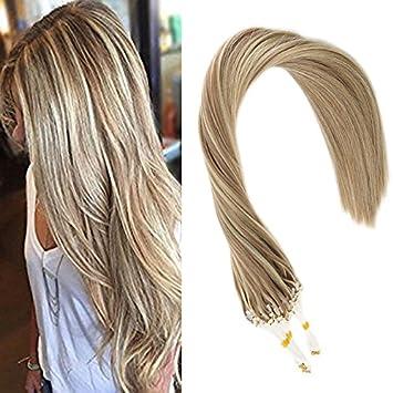 Sunny Microring Extensions Echthaar Asche Braun Mit Blond Haare 14