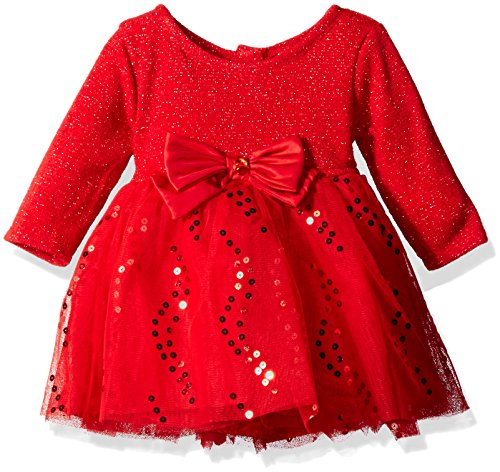 Youngland Baby Girls' Metallic Sweater Knit to Tutu Mesh Dress, Red, 18 Months