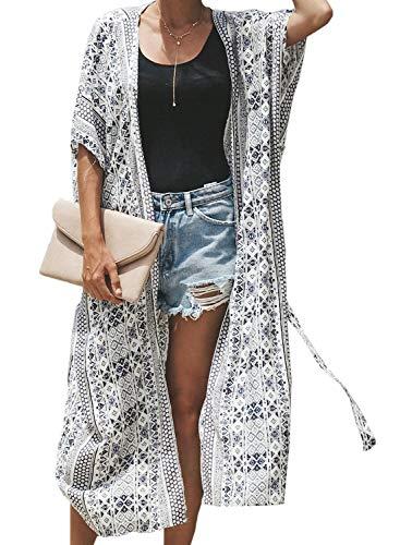 Aleumdr Damen Strandkleid Bikini Cover Up Strandponcho Kimono Cardigan Oversize Bluse Blumen Tops Übergroß Strickjacke Outwear One Size