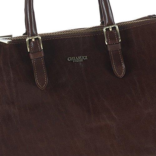 Chiarugi Italian Leather Sac fourre-tout classique - Marron