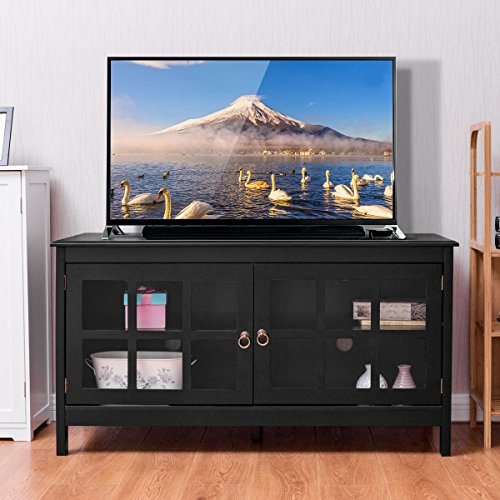 "Tangkula 50"" TV Stand Modern Wood Storage Console Entertainment Center w/ 2 Doors Black (Unique Tv Cabinets)"