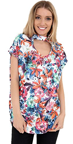 AHR - Camiseta sin mangas - para mujer multicolor Estampado Floral Talla única