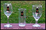 Doberman handpainted glasses - set of 2 - Iced Tea, Wine, Barware - Dishwasher safe- shipping pro rated for multiples