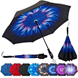 Repel Reverse Folding Inverted Umbrella with 2 Layered Teflon Canopy and Reinforced Fiberglass Ribs (Indigo Flower)
