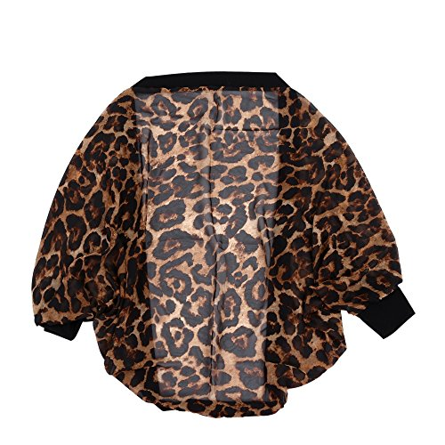 SODIAL(R) ete Cardigan Femmes Pull a manches longues Sexy Leopard longue