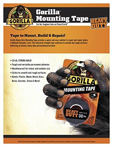 Cinta de montaje de doble cara para trabajo pesado Gorilla, 1 pulgada x 60 pulgadas, negro