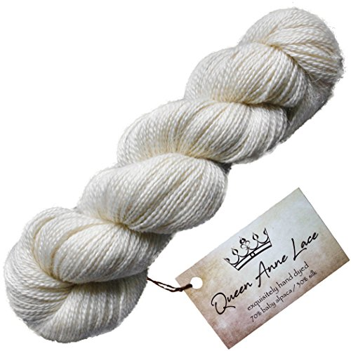 Living Dreams Queen Anne Lace Yarn. Luxuriously Soft Baby Alpaca Silk. Cruelty Free Responsibly Sourced Undyed Fiber. Natural -