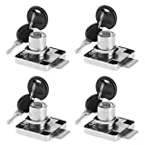 BTMB 4 Pack Cylinder Cam Drawer Lock Desk Wardrobe Cabinet Locker Furniture Hardware Lock w 8 Keys (Keyed Alike)