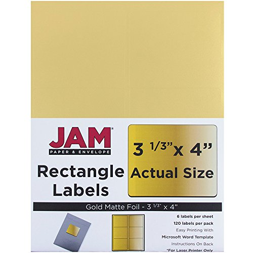 "JAM Paper Labels - Shipping Address Labels - Large - 3 1/3"" x 4"" - Metallic Gold - 120/pack"