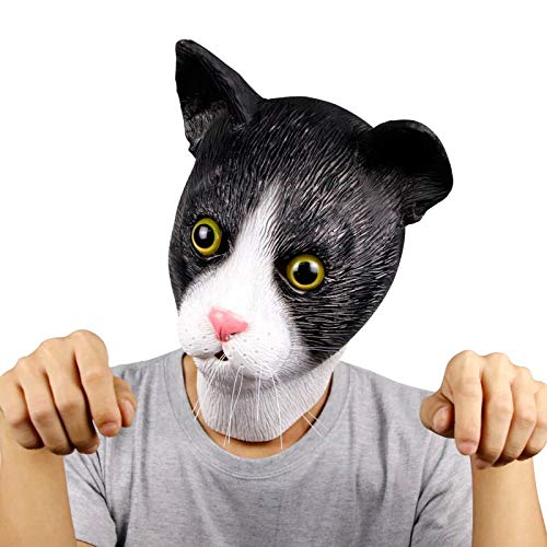 Molezu Novelty Halloween Docile Cat Mask Costume Party Latex Cat Animal Cute Mask Animal Head Mask