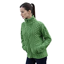 100% Irish Merino Wool Aran Knit Zip Sweater with pockets by West End Knitwear, Green, Extra Large