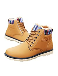 HEMAY Men's Fur Lining Ankle Warm Lace Up Waterproof Durable Boots
