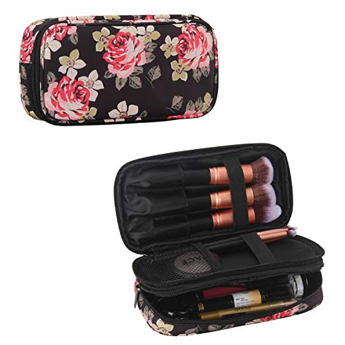 MONSTINA Make Up Bag for Women, Peony Flower Cosmetic Bag Makeup Bags with Brushes Beauty Travel Kit Organizer (Black 3)