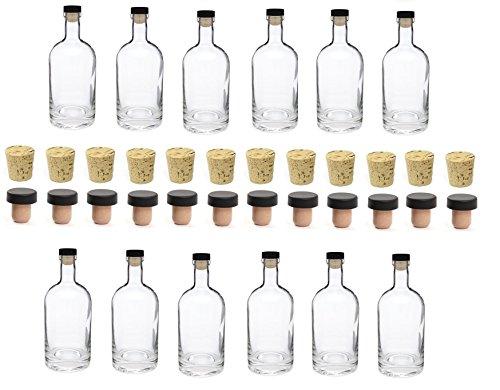 Nakpunar 12 pcs 25 oz Heavy Base Glass Bottles 750 ml - Made in the USA