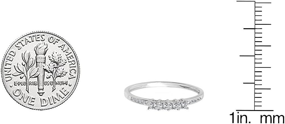 ctw White Gold 14k Princess Cut Diamond Ladies Anniversary Wedding Band Stackable Ring 1//2 CT Dazzlingrock Collection 0.50 Carat