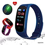 zqasales Fitness Tracker, Color Screen Activity Tracker Heart Rate Monitor,Steps Counter IP67 Waterproof Smart Watch Calorie Counter Watch Pedometer Sleep Monitor Kids Women Men (Blue)