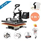 "CO-Z 12""x15"" Black 5 in 1 360 Degree Swivel Heat Press Machine Multifunction Sublimation Combo T Shirt Press Machine for Mug Hat Plate Cap Mouse Pad"