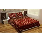 Grandiose Velvet Bedsheet for Double bed with 2 Pillow Covers - Floral; Maroon, Gold