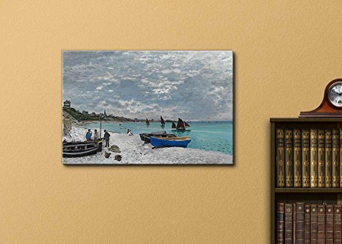 The Beach at Sainte Adresse by Claude Monet Print Famous Painting Reproduction