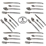 Original French LAGUIOLE Dubost - Complete 24 pcs Flatware Set - In All Heavier 25/10 Stainless Steel - Sharp 2.5 mm Blade (Full Family Quality Dinner Table Inox Cutlery Setting for 6 People - Direct From France)