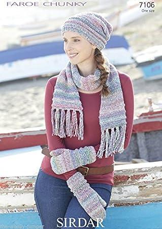 Amazon Sirdar Ladies Hat Scarf Mittens Knitting Pattern 7106