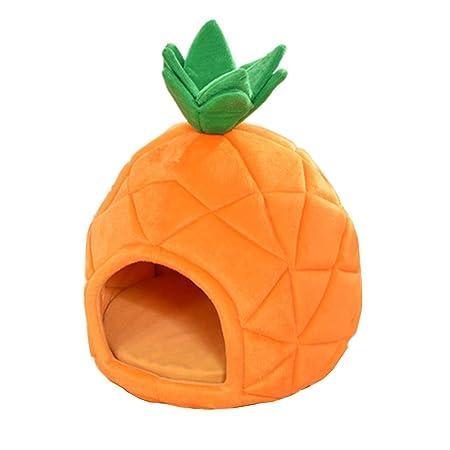 zhxinashu Cachorro Perro Mascota Gato Casa Suave Piña Forma de Perrera Cueva Cama(Naranja/S 38 * 38 * 45): Amazon.es: Productos para mascotas