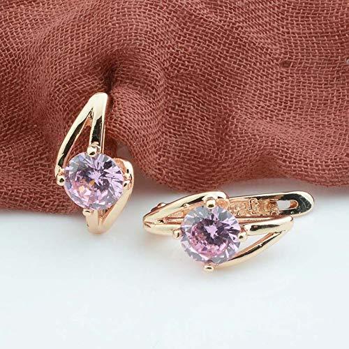 GEDASHU Earring 20Mmx9Mm Women Jewelry Ladies 585 Rose Gold Color Earrings Green White Stone Drop Dangle Earrings