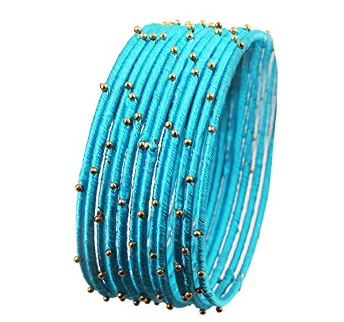 Touchstone New Silk Thread Bangle Collection Indian Bollywood Handcrafted Faux Silk Thread Exotic Look Handcrafted Golden Beads Turquoise Blue Designer Bangle Bracelets Set of 12 for Women. ()